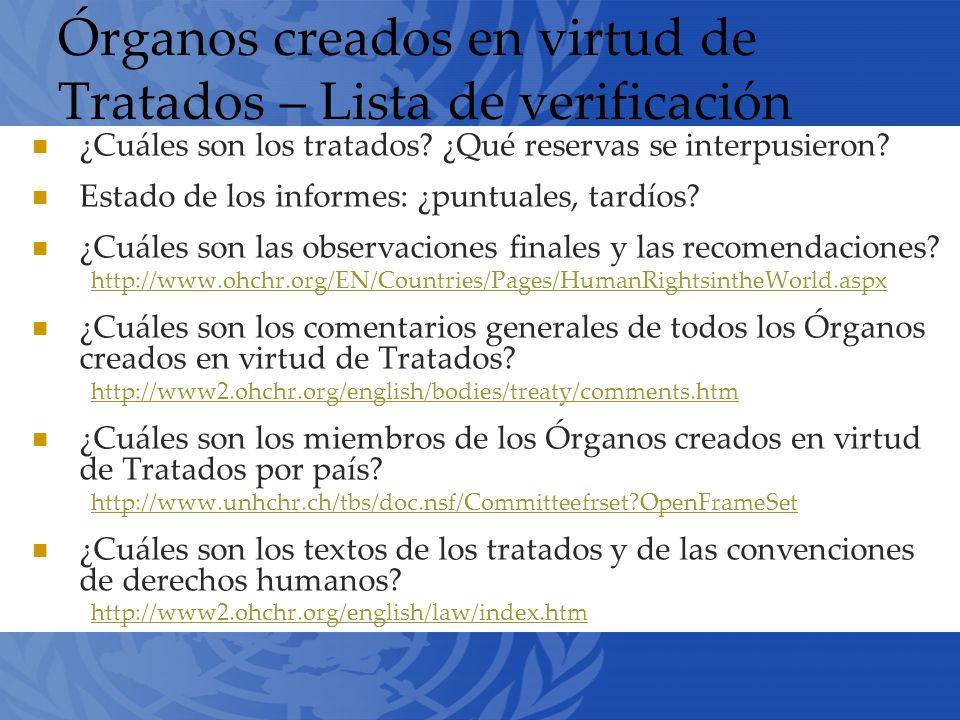 Órganos creados en virtud de Tratados – Lista de verificación ¿Cuáles son los tratados.