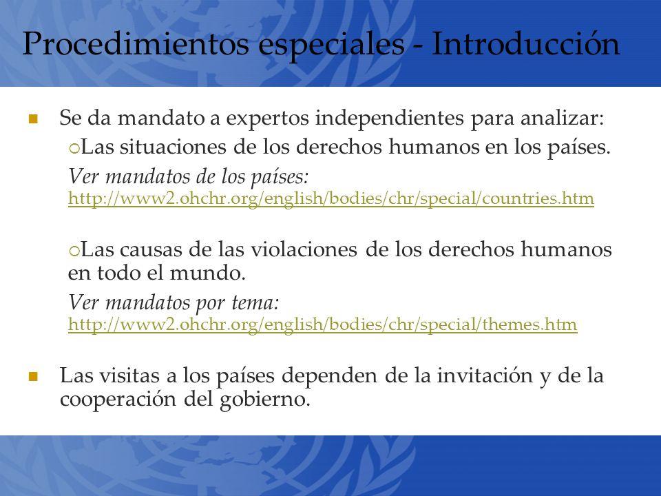 Procedimientos especiales - Introducción Se da mandato a expertos independientes para analizar: Las situaciones de los derechos humanos en los países.