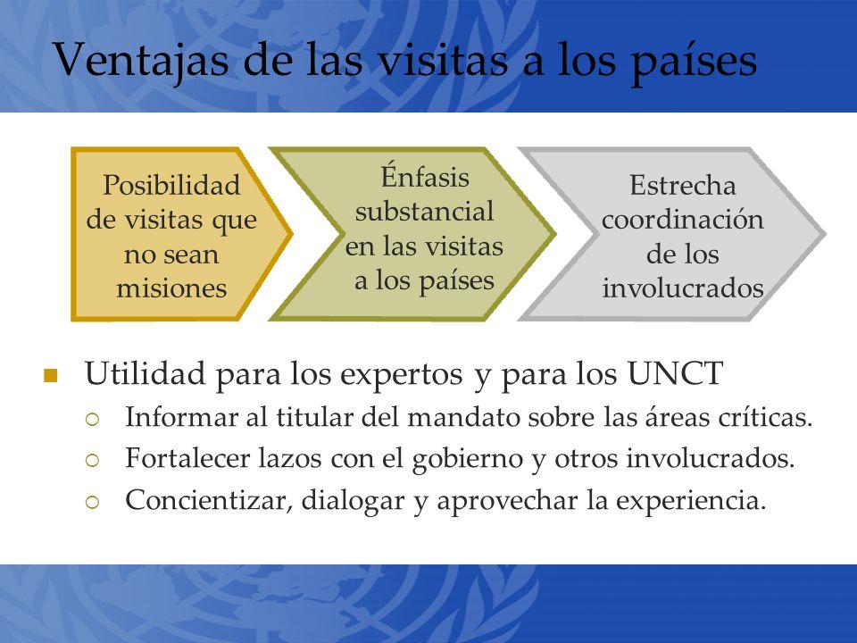 Ventajas de las visitas a los países Utilidad para los expertos y para los UNCT Informar al titular del mandato sobre las áreas críticas.