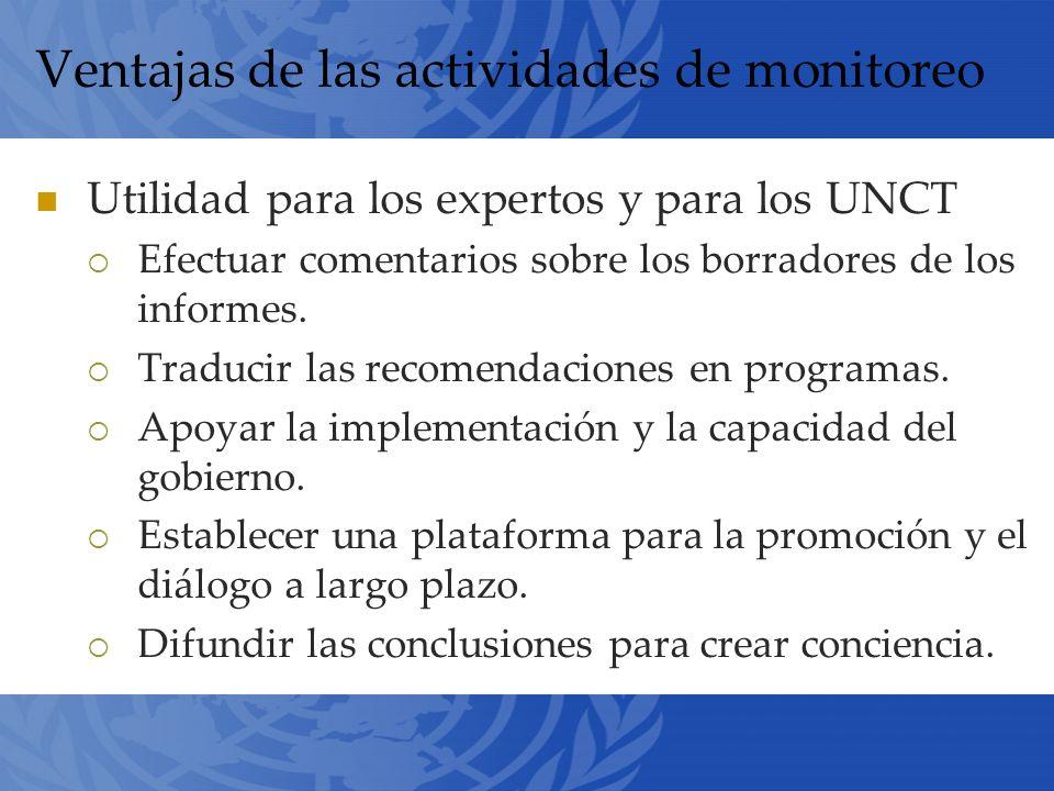 Ventajas de las actividades de monitoreo Utilidad para los expertos y para los UNCT Efectuar comentarios sobre los borradores de los informes.