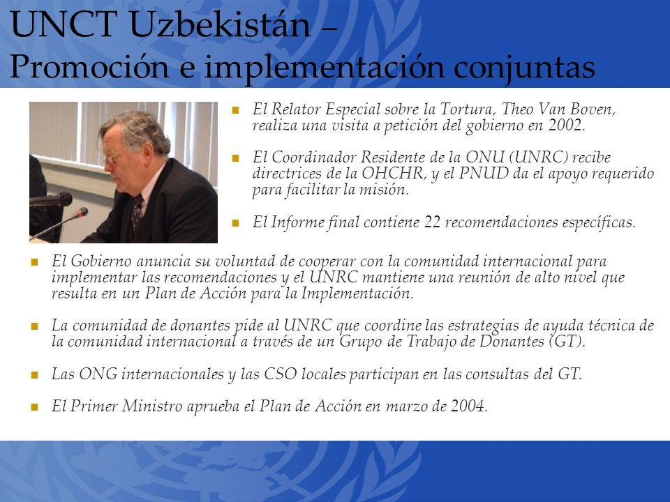 UNCT Uzbekistán – Promoción e implementación conjuntas El Relator Especial sobre la Tortura, Theo Van Boven, realiza una visita a petición del gobierno en 2002.