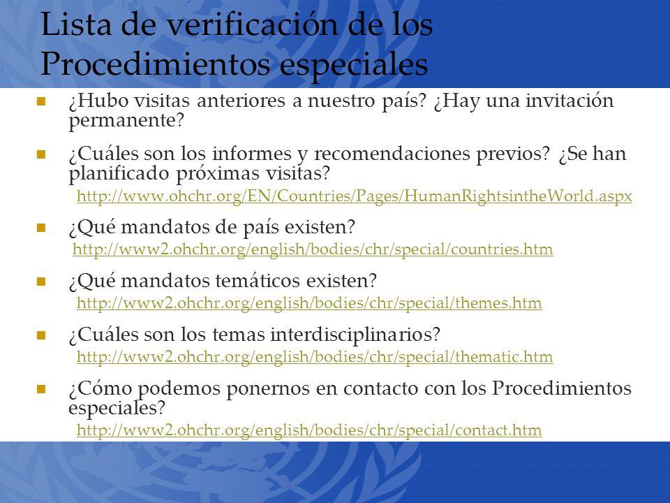 Lista de verificación de los Procedimientos especiales ¿Hubo visitas anteriores a nuestro país.