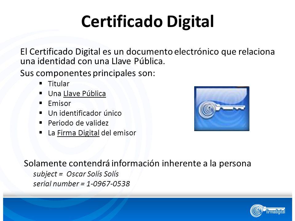 El Certificado Digital es un documento electrónico que relaciona una identidad con una Llave Pública. Sus componentes principales son: Titular Una Lla