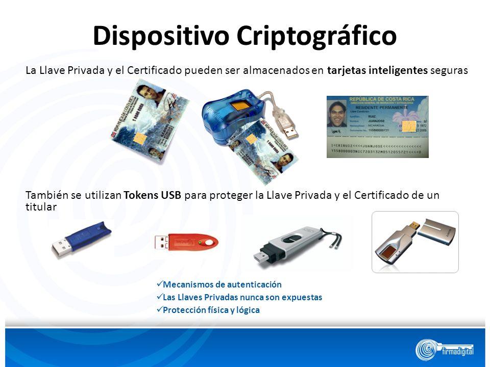 Dispositivo Criptográfico También se utilizan Tokens USB para proteger la Llave Privada y el Certificado de un titular Mecanismos de autenticación Las