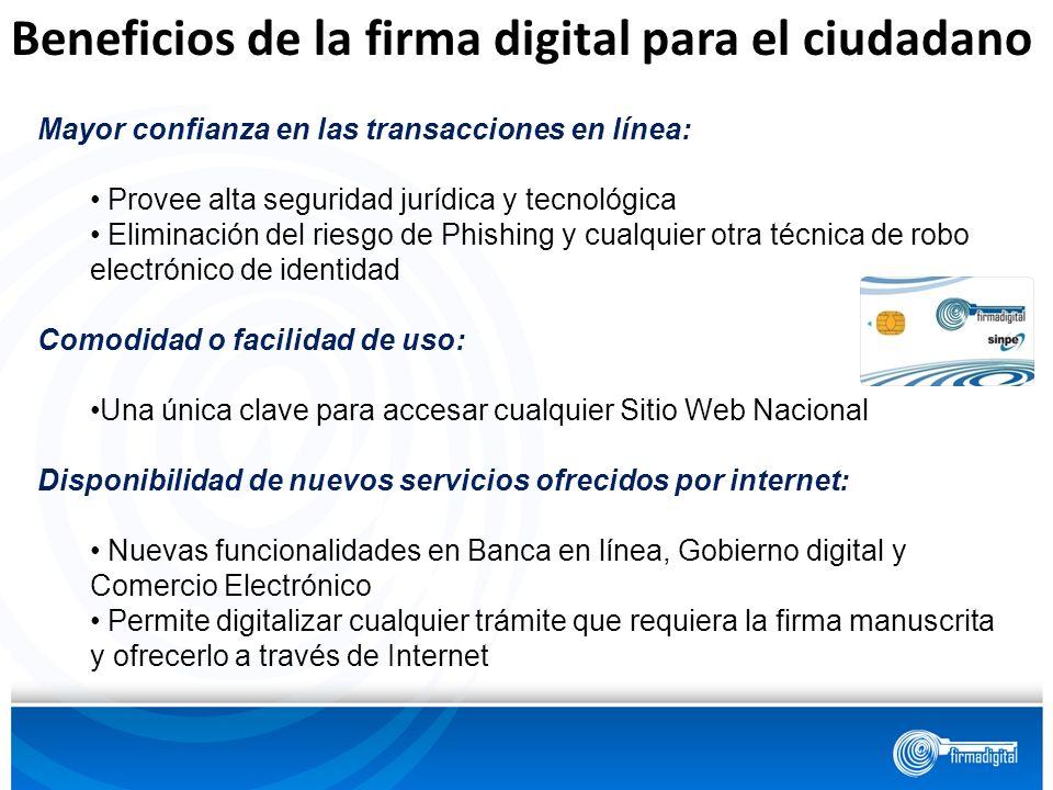 Beneficios de la firma digital para el ciudadano Mayor confianza en las transacciones en línea: Provee alta seguridad jurídica y tecnológica Eliminaci