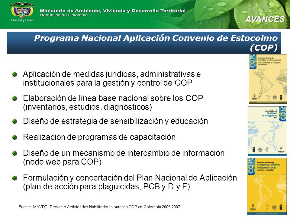 Programa Nacional Aplicación Convenio de Estocolmo (COP) Aplicación de medidas jurídicas, administrativas e institucionales para la gestión y control