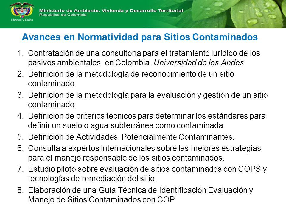 Avances en Normatividad para Sitios Contaminados 1.Contratación de una consultoría para el tratamiento jurídico de los pasivos ambientales en Colombia.