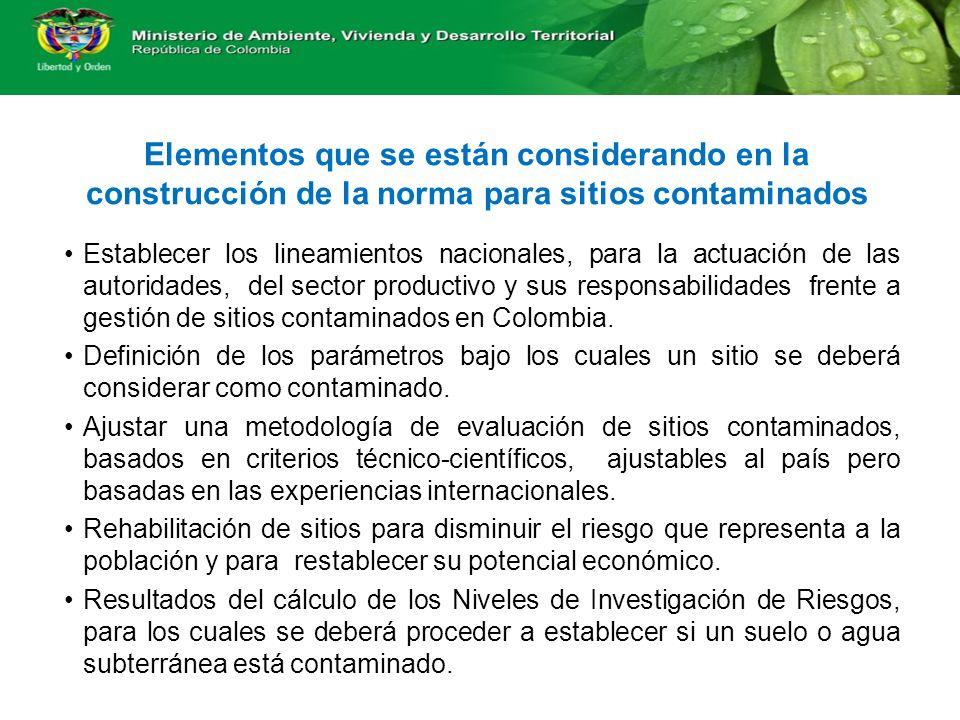 Elementos que se están considerando en la construcción de la norma para sitios contaminados Establecer los lineamientos nacionales, para la actuación de las autoridades, del sector productivo y sus responsabilidades frente a gestión de sitios contaminados en Colombia.
