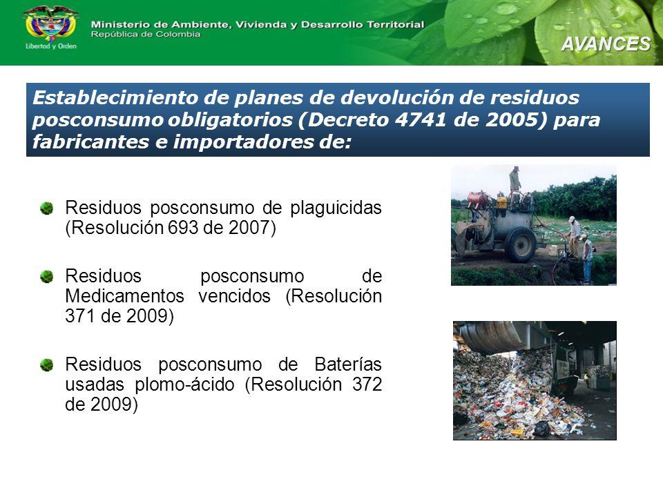 Residuos posconsumo de plaguicidas (Resolución 693 de 2007) Residuos posconsumo de Medicamentos vencidos (Resolución 371 de 2009) Residuos posconsumo