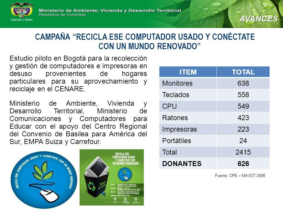 CAMPAÑA RECICLA ESE COMPUTADOR USADO Y CONÉCTATE CON UN MUNDO RENOVADO Estudio piloto en Bogotá para la recolección y gestión de computadores e impresoras en desuso provenientes de hogares particulares para su aprovechamiento y reciclaje en el CENARE.