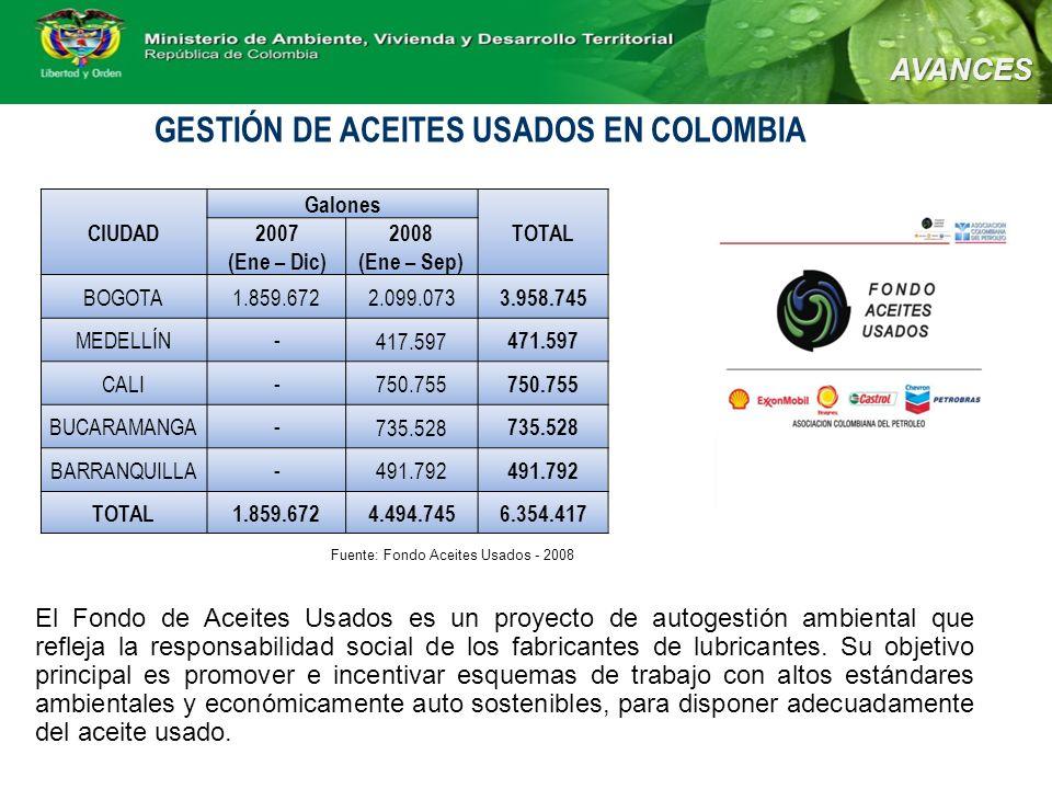 GESTIÓN DE ACEITES USADOS EN COLOMBIA El Fondo de Aceites Usados es un proyecto de autogestión ambiental que refleja la responsabilidad social de los