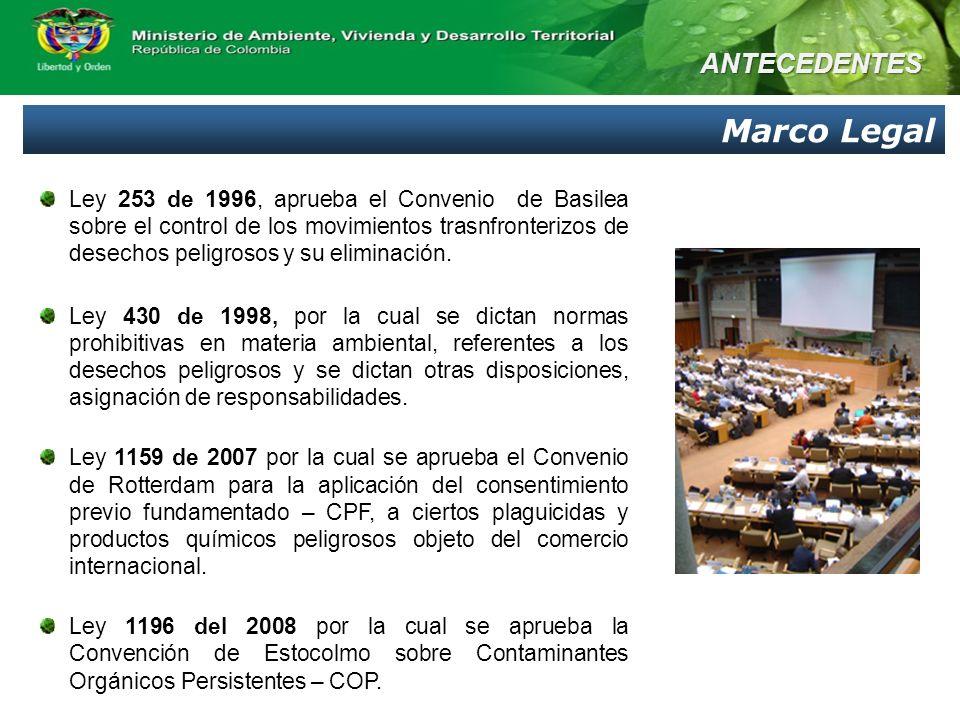 Ley 253 de 1996, aprueba el Convenio de Basilea sobre el control de los movimientos trasnfronterizos de desechos peligrosos y su eliminación. Ley 430