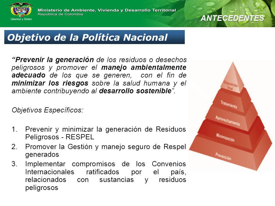 Prevenir la generación de los residuos o desechos peligrosos y promover el manejo ambientalmente adecuado de los que se generen, con el fin de minimiz
