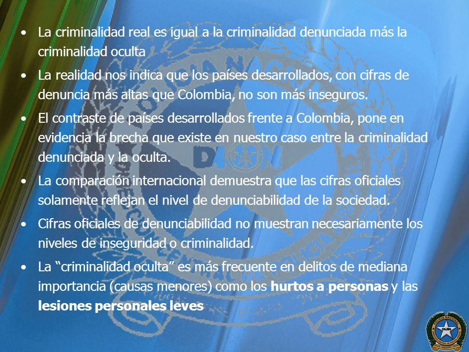 La criminalidad real es igual a la criminalidad denunciada más la criminalidad oculta La realidad nos indica que los países desarrollados, con cifras