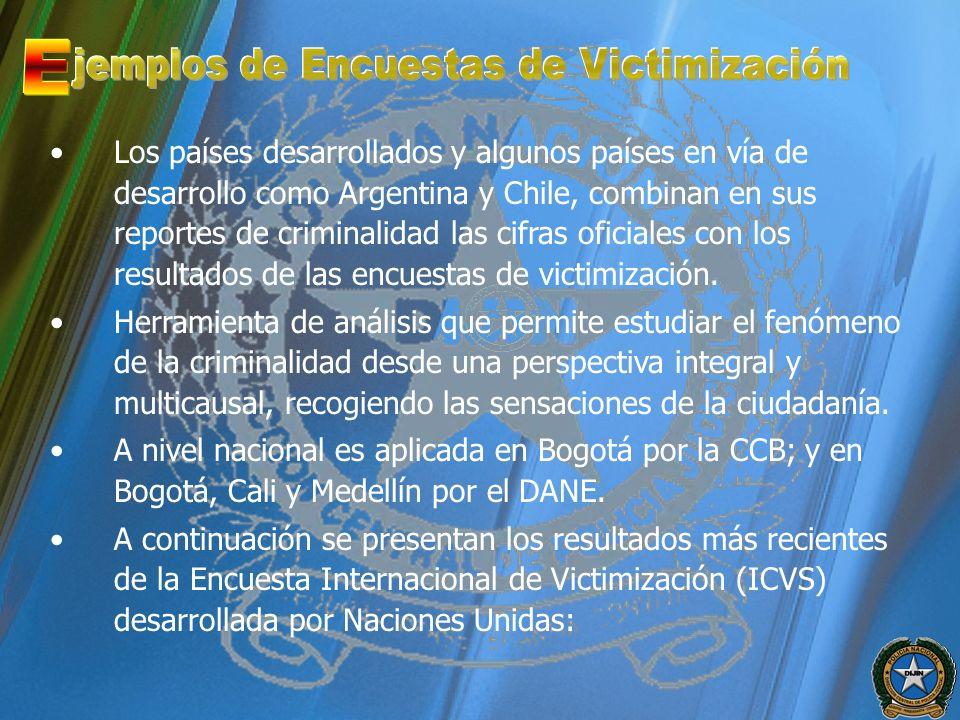 Los países desarrollados y algunos países en vía de desarrollo como Argentina y Chile, combinan en sus reportes de criminalidad las cifras oficiales c