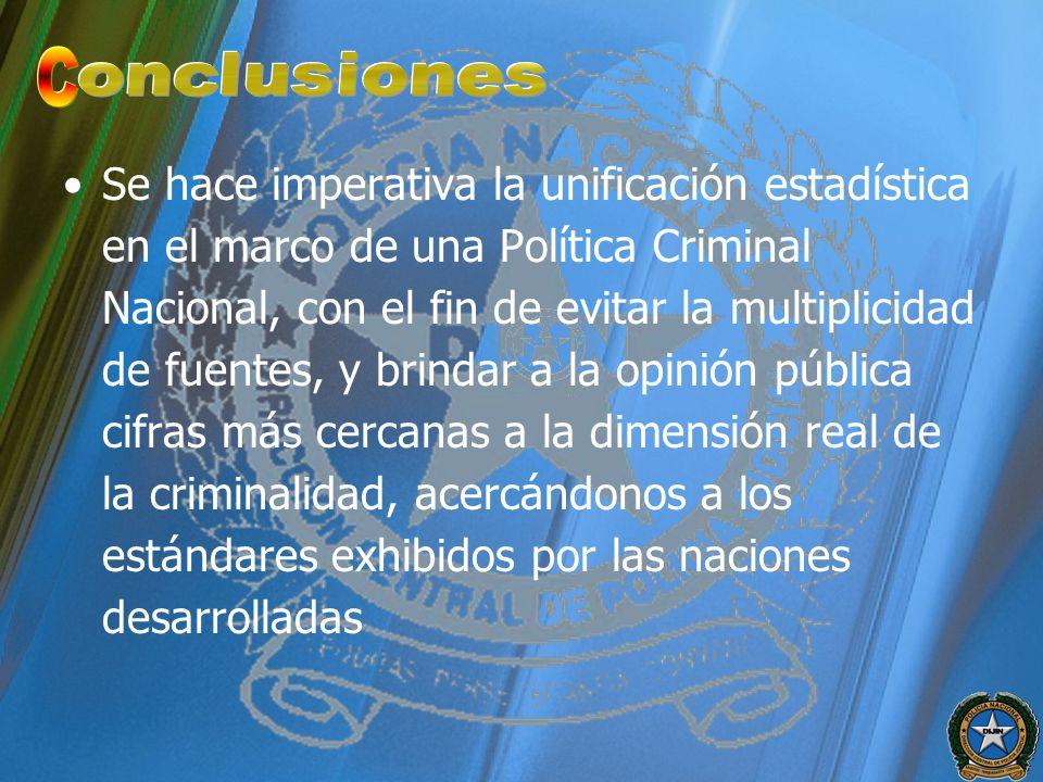 Se hace imperativa la unificación estadística en el marco de una Política Criminal Nacional, con el fin de evitar la multiplicidad de fuentes, y brind