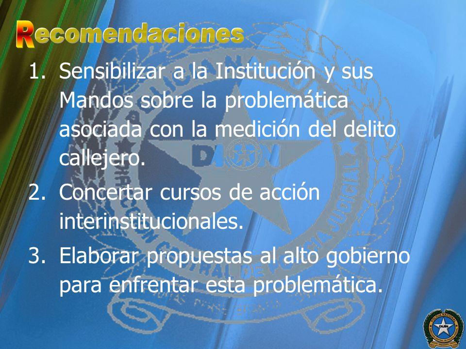 1.Sensibilizar a la Institución y sus Mandos sobre la problemática asociada con la medición del delito callejero. 2.Concertar cursos de acción interin