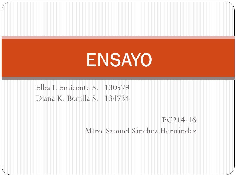 Elba I. Emicente S. 130579 Diana K. Bonilla S. 134734 PC214-16 Mtro. Samuel Sánchez Hernández ENSAYO