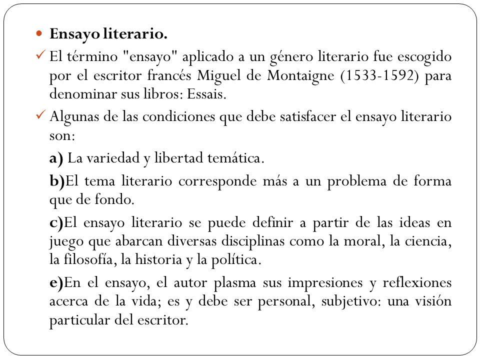 Ensayo literario. El término