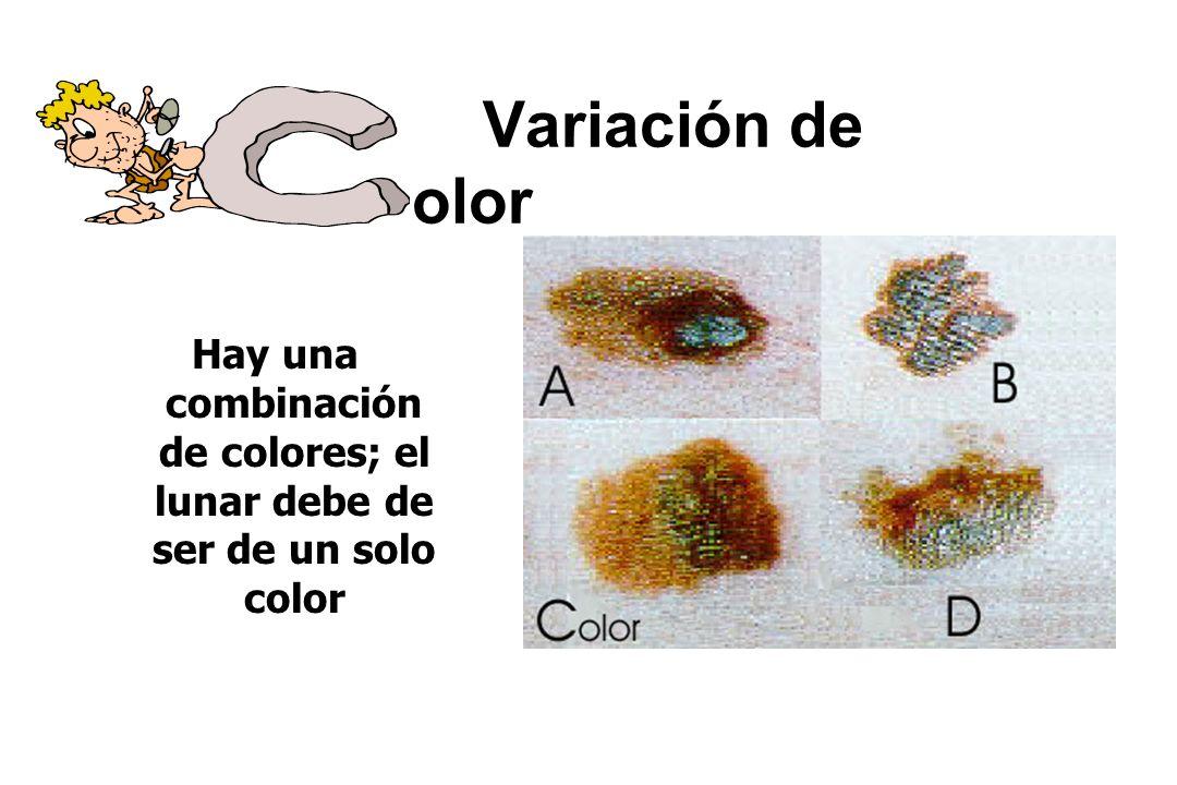 Variación de olor Hay una combinación de colores; el lunar debe de ser de un solo color