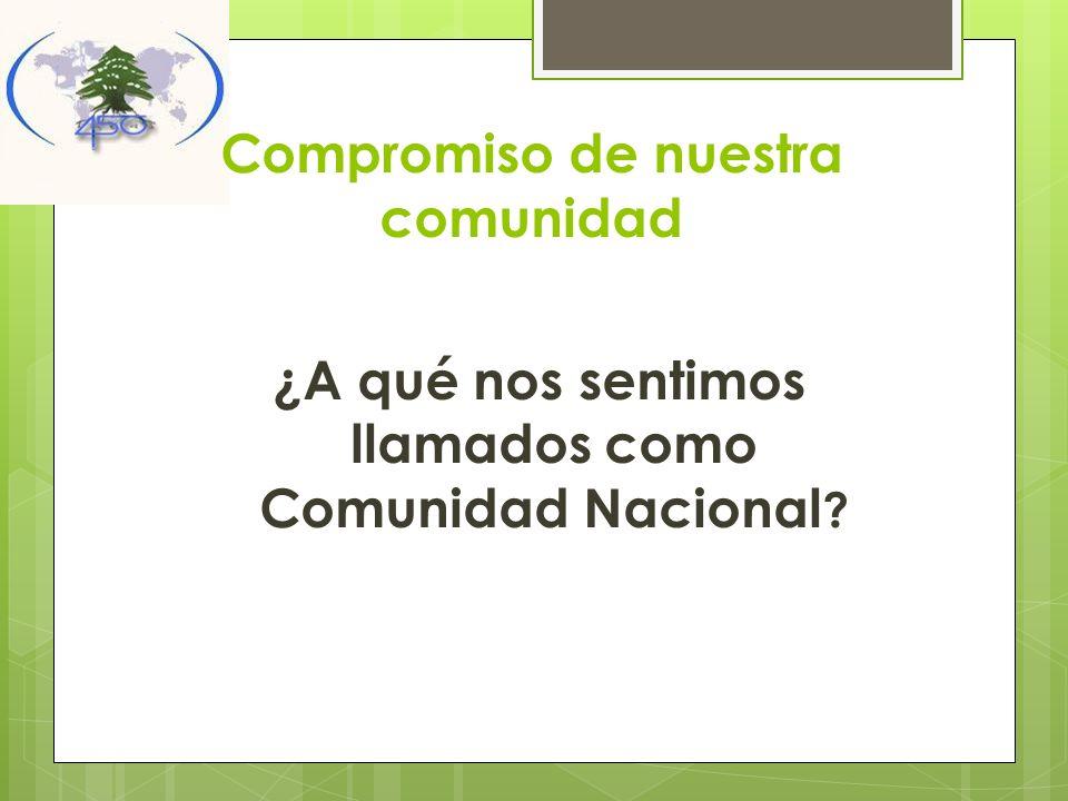 Compromiso de nuestra comunidad ¿A qué nos sentimos llamados como Comunidad Nacional ?