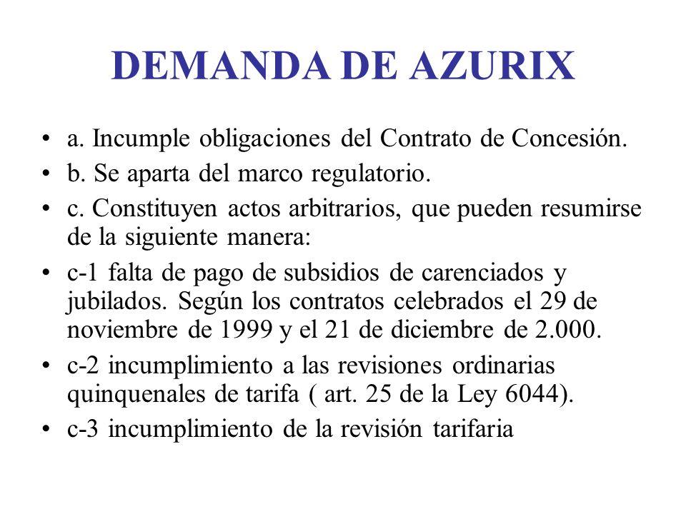 DEMANDA DE AZURIX a. Incumple obligaciones del Contrato de Concesión. b. Se aparta del marco regulatorio. c. Constituyen actos arbitrarios, que pueden