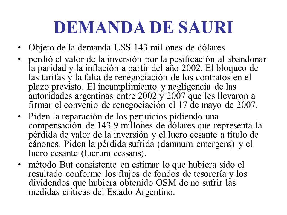 DEMANDA DE SAURI Objeto de la demanda U$S 143 millones de dólares perdió el valor de la inversión por la pesificación al abandonar la paridad y la inflación a partir del año 2002.