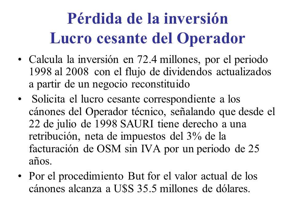 Pérdida de la inversión Lucro cesante del Operador Calcula la inversión en 72.4 millones, por el periodo 1998 al 2008 con el flujo de dividendos actualizados a partir de un negocio reconstituido Solicita el lucro cesante correspondiente a los cánones del Operador técnico, señalando que desde el 22 de julio de 1998 SAURI tiene derecho a una retribución, neta de impuestos del 3% de la facturación de OSM sin IVA por un periodo de 25 años.