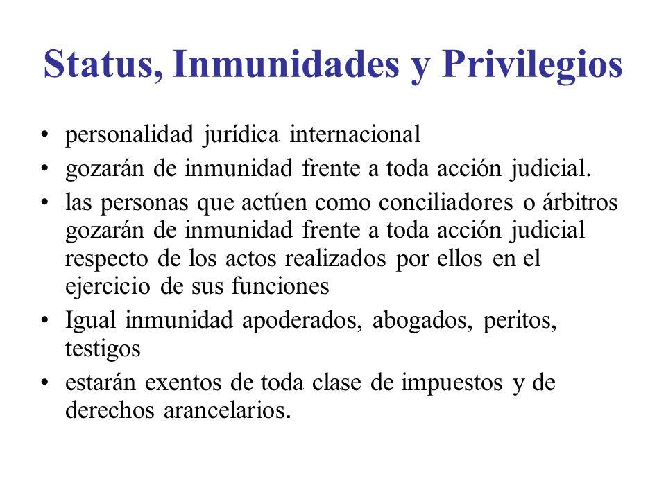 Status, Inmunidades y Privilegios personalidad jurídica internacional gozarán de inmunidad frente a toda acción judicial.