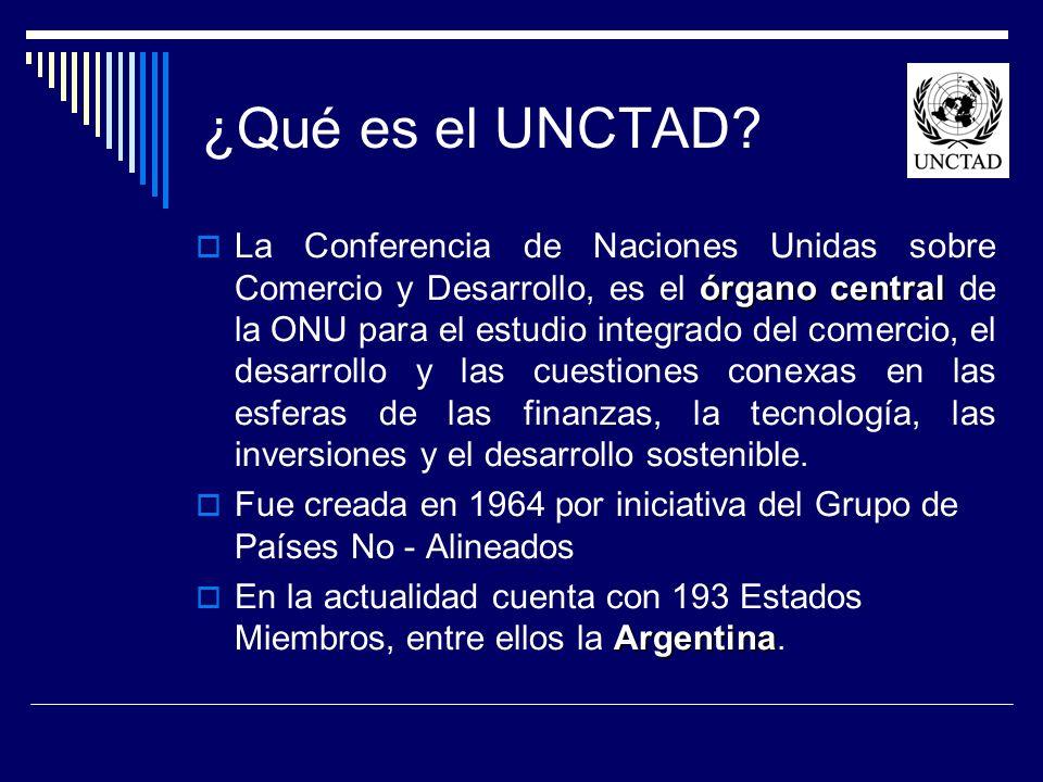 ¿Qué es el UNCTAD? órgano central La Conferencia de Naciones Unidas sobre Comercio y Desarrollo, es el órgano central de la ONU para el estudio integr