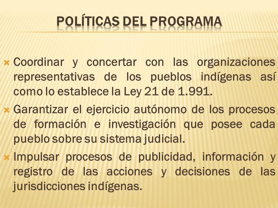 Coordinar y concertar con las organizaciones representativas de los pueblos indígenas así como lo establece la Ley 21 de 1.991. Garantizar el ejercici