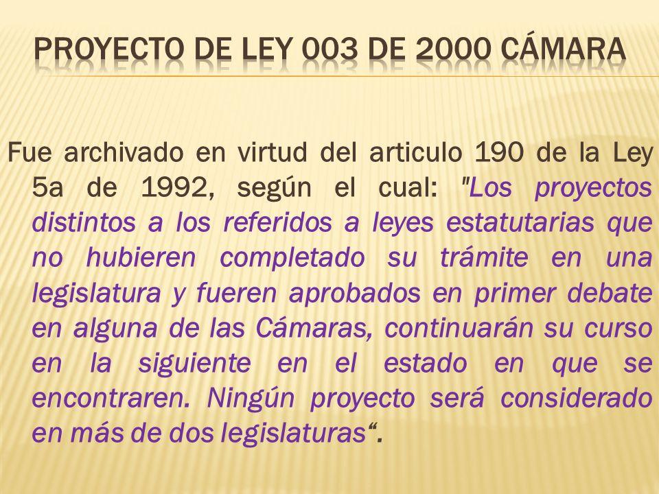 Fue archivado en virtud del articulo 190 de la Ley 5a de 1992, según el cual: