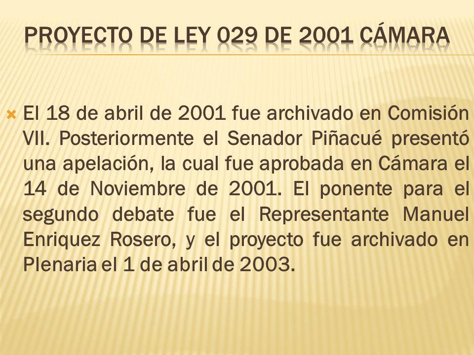 El 18 de abril de 2001 fue archivado en Comisión VII. Posteriormente el Senador Piñacué presentó una apelación, la cual fue aprobada en Cámara el 14 d