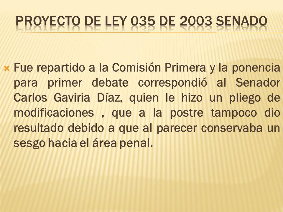 Fue repartido a la Comisión Primera y la ponencia para primer debate correspondió al Senador Carlos Gaviria Díaz, quien le hizo un pliego de modificaciones, que a la postre tampoco dio resultado debido a que al parecer conservaba un sesgo hacia el área penal.