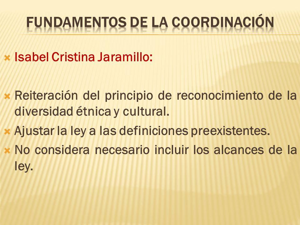 Isabel Cristina Jaramillo: Reiteración del principio de reconocimiento de la diversidad étnica y cultural. Ajustar la ley a las definiciones preexiste