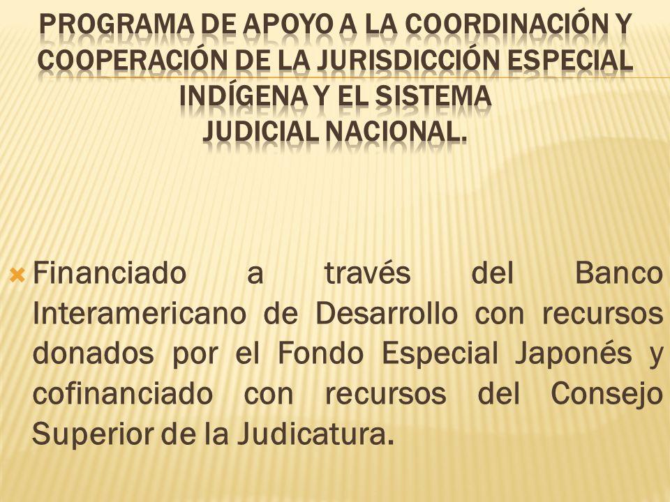 Financiado a través del Banco Interamericano de Desarrollo con recursos donados por el Fondo Especial Japonés y cofinanciado con recursos del Consejo Superior de la Judicatura.