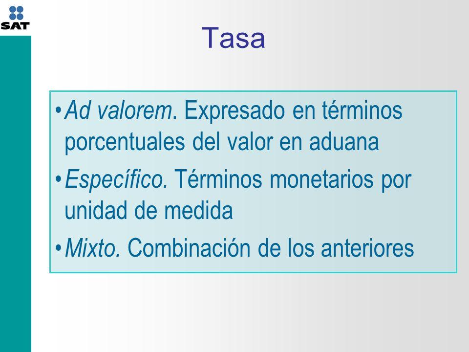 Tasa Ad valorem.Expresado en términos porcentuales del valor en aduana Específico.