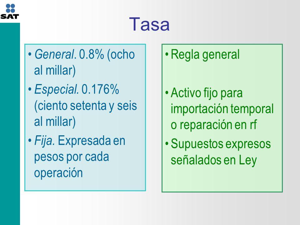 Tasa General.0.8% (ocho al millar) Especial. 0.176% (ciento setenta y seis al millar) Fija.