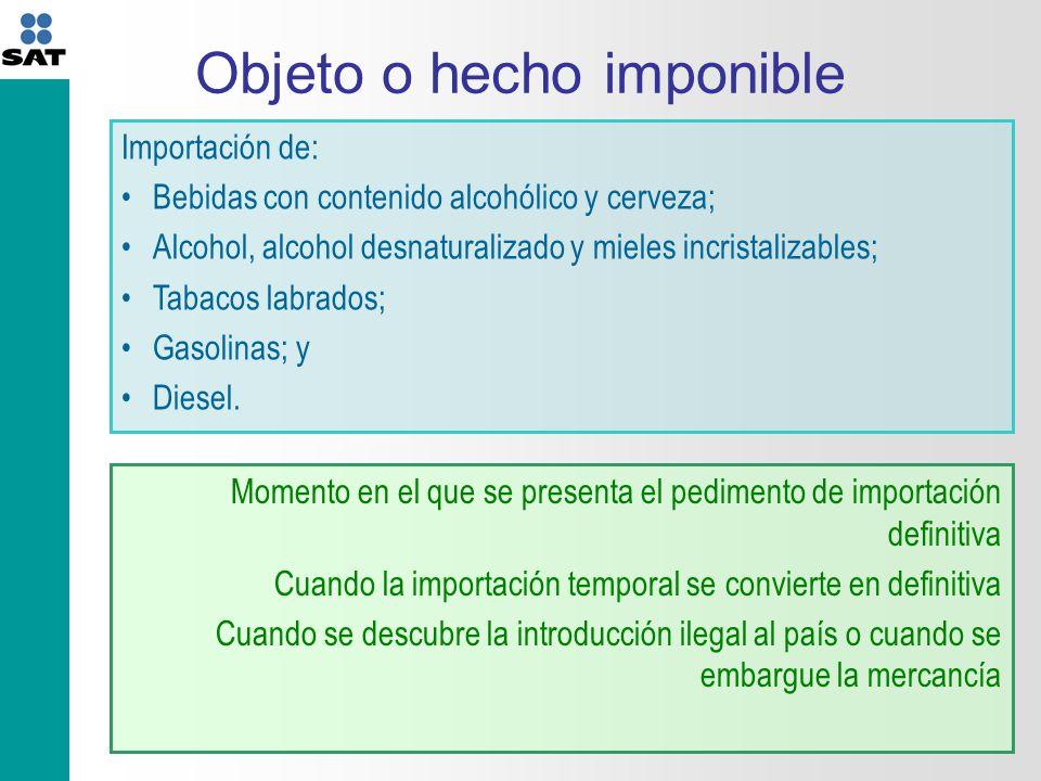 Objeto o hecho imponible Importación de: Bebidas con contenido alcohólico y cerveza; Alcohol, alcohol desnaturalizado y mieles incristalizables; Tabacos labrados; Gasolinas; y Diesel.