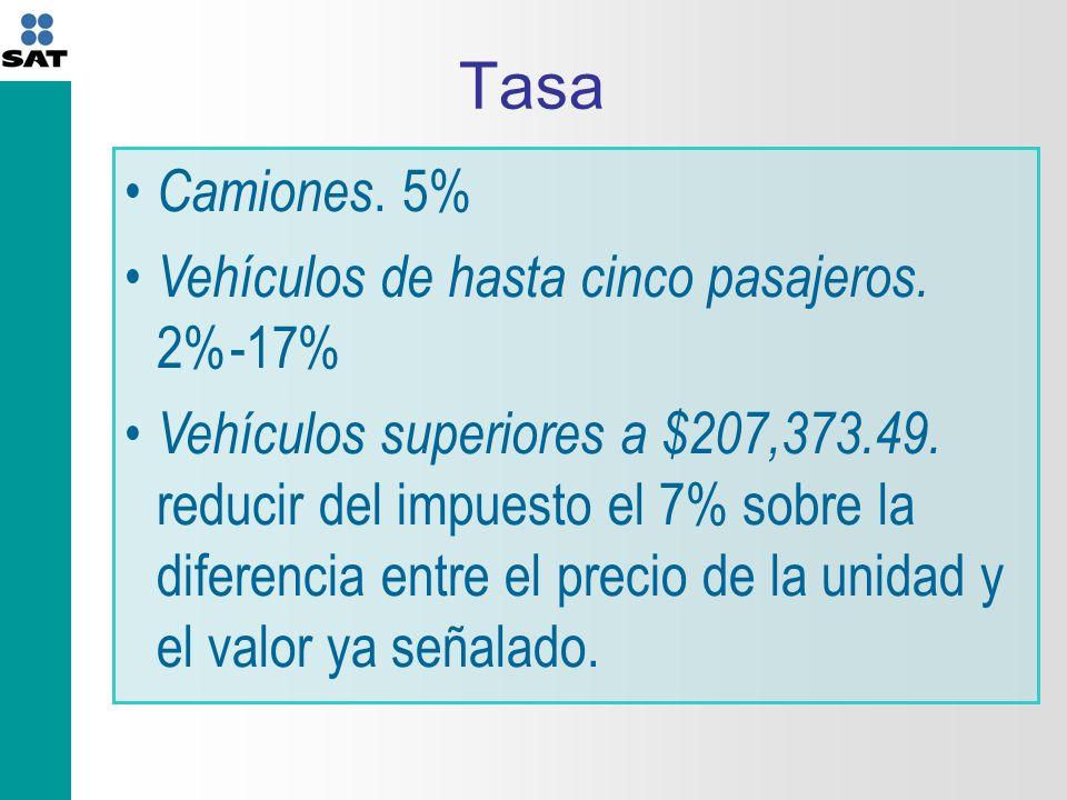 Tasa Camiones.5% Vehículos de hasta cinco pasajeros.
