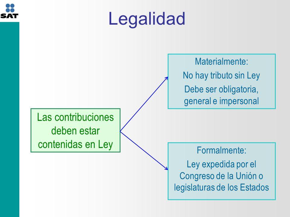 Legalidad Las contribuciones deben estar contenidas en Ley Materialmente: No hay tributo sin Ley Debe ser obligatoria, general e impersonal Formalmente: Ley expedida por el Congreso de la Unión o legislaturas de los Estados