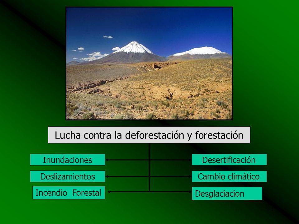 13 Manejo integral de cuencas hidrográficas Inundaciones Deslizamientos Desertificación Sequía Derrames Mat. Pelig.Colapso de Relaveras Huaycos