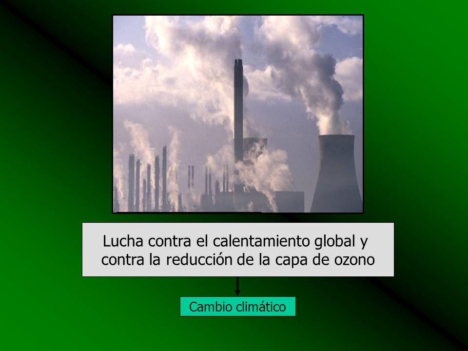 14 Lucha contra la deforestación y forestación Inundaciones Deslizamientos Desertificación Cambio climático Incendio Forestal Desglaciacion
