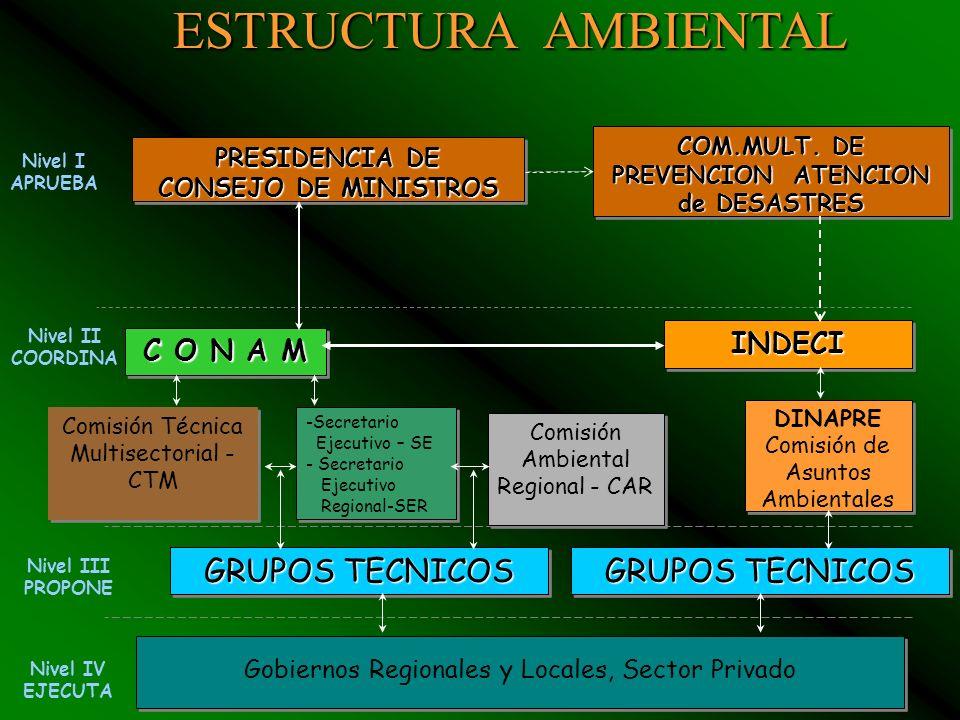 17 INSTITUCIONES COMPROMETIDOS CON DEFENSA NACIONAL Y LA GESTION AMBIENTAL PRESIDENCIA DEL CONSEJO DE MINISTROS CONAM MINISTERIOS MIGAMITINCIMIPEDEFEN