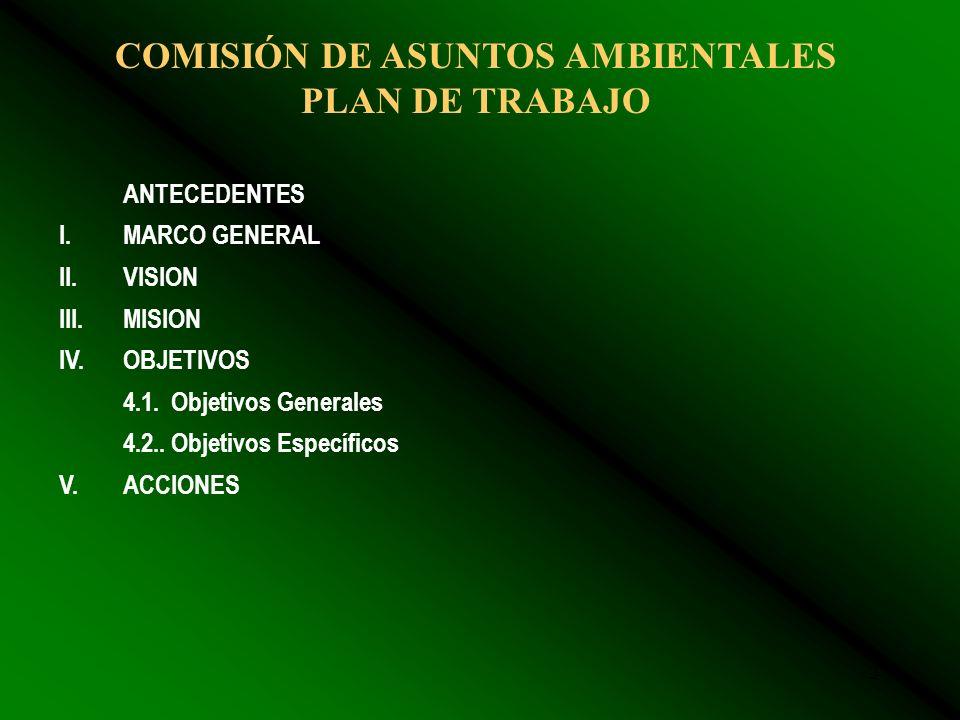 2 COMISIÓN DE ASUNTOS AMBIENTALES PLAN DE TRABAJO ANTECEDENTES I.MARCO GENERAL II.VISION III.