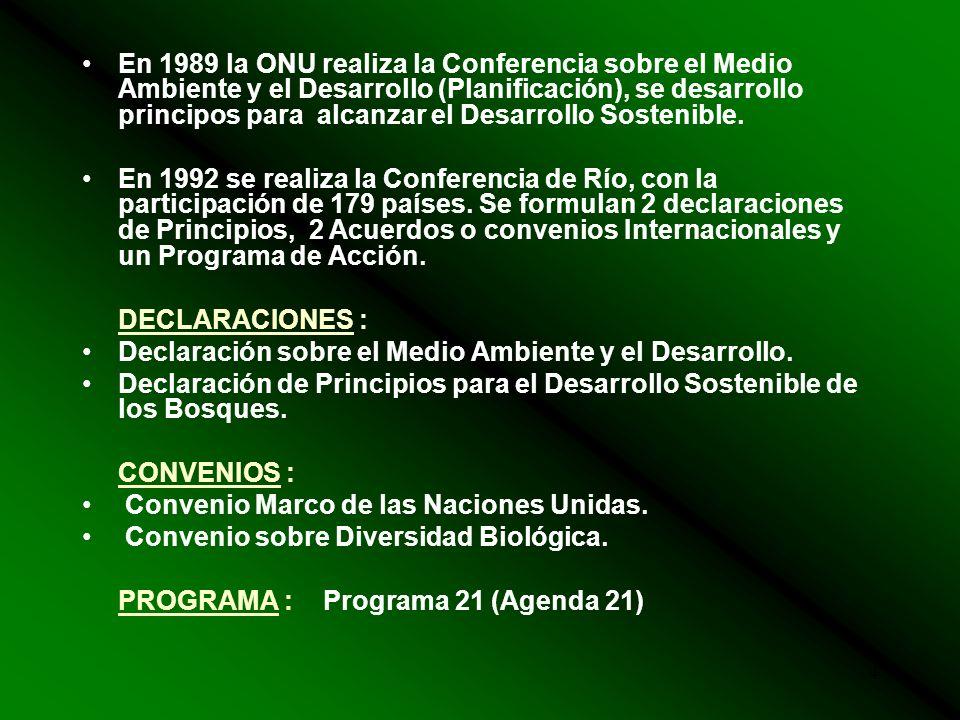 4 En 1989 la ONU realiza la Conferencia sobre el Medio Ambiente y el Desarrollo (Planificación), se desarrollo principos para alcanzar el Desarrollo Sostenible.