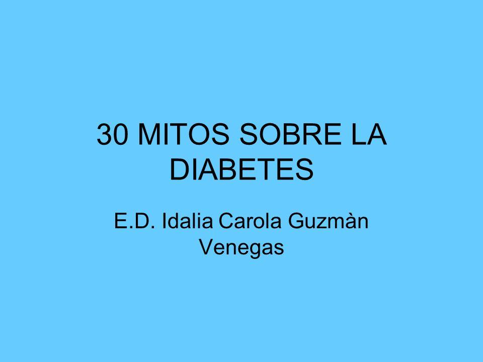 30 MITOS SOBRE LA DIABETES E.D. Idalia Carola Guzmàn Venegas