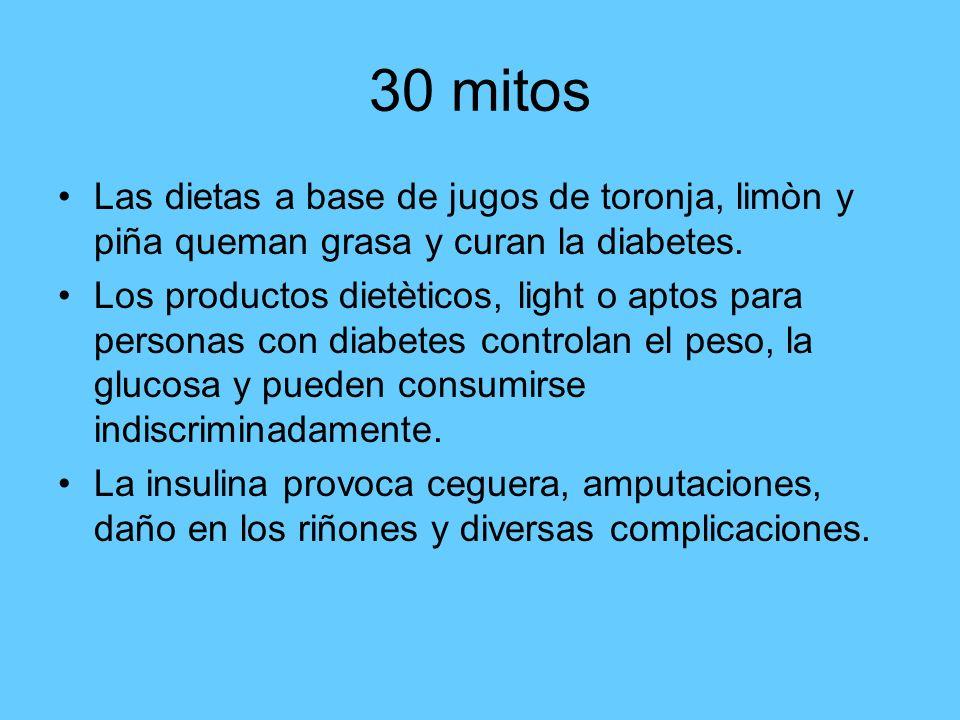 30 mitos Las dietas a base de jugos de toronja, limòn y piña queman grasa y curan la diabetes. Los productos dietèticos, light o aptos para personas c