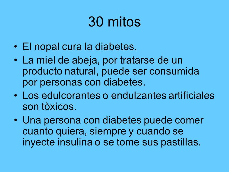30 mitos Las personas con diabetes solo deben consumir productos dietèticos o light.las personas con diabetes tienen prohibidas las 3 *P (pan, pasta y postres).