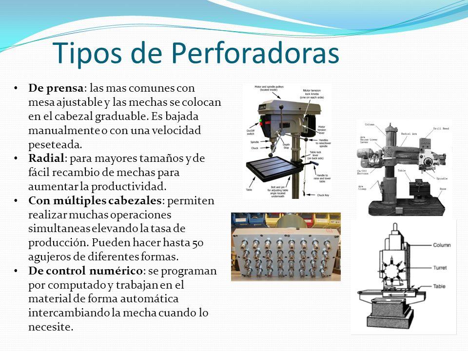 Tipos de Perforadoras De prensa: las mas comunes con mesa ajustable y las mechas se colocan en el cabezal graduable. Es bajada manualmente o con una v